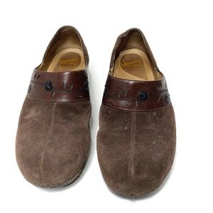 Dansko Sausalito Brown Leather Suede Clogg Shoes